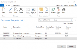 Microsoft Dynamics NAV | Customer Template List