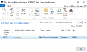Microsoft Dynamics NAV | New Prospective Company Screen