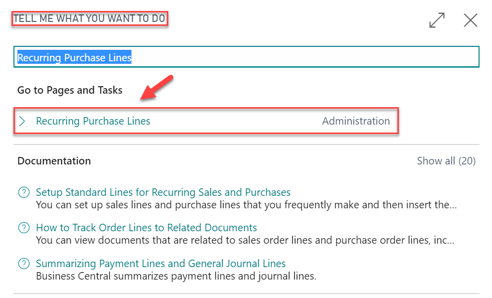Microsoft Dynamics - Recurring Purchase Lines